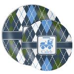 Blue Argyle Melamine Plate (Personalized)