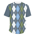Blue Argyle Men's Crew T-Shirt (Personalized)