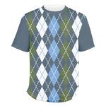 Blue Argyle Men's Crew T-Shirt (Personalized)