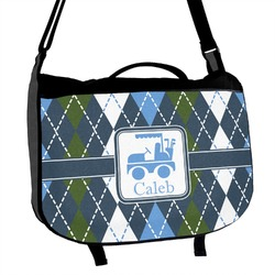 Blue Argyle Messenger Bag (Personalized)