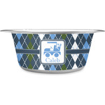 Blue Argyle Stainless Steel Dog Bowl (Personalized)