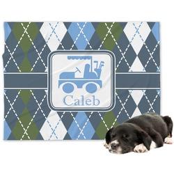Blue Argyle Minky Dog Blanket - Large  (Personalized)