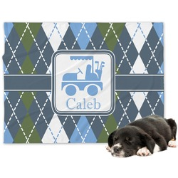 Blue Argyle Minky Dog Blanket (Personalized)