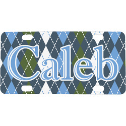 Blue Argyle Mini / Bicycle License Plate (Personalized)