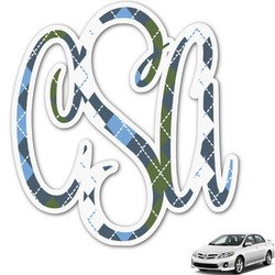 Blue Argyle Monogram Car Decal (Personalized)