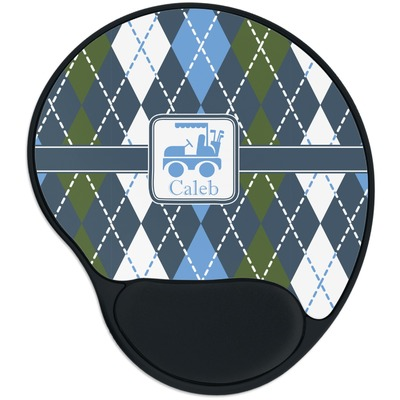 Blue Argyle Mouse Pad with Wrist Support