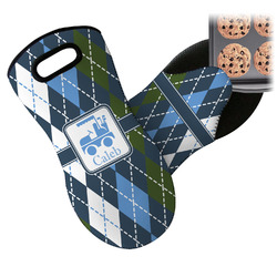 Blue Argyle Neoprene Oven Mitt (Personalized)