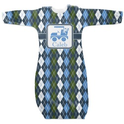 Blue Argyle Newborn Gown (Personalized)