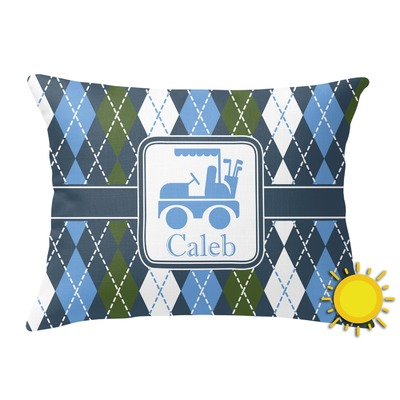 Blue Rectangular Throw Pillows : Blue Argyle Outdoor Throw Pillow (Rectangular) (Personalized) - YouCustomizeIt