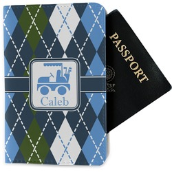 Blue Argyle Passport Holder - Fabric (Personalized)
