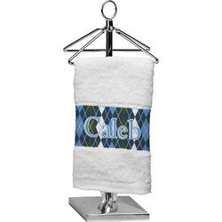 Blue Argyle Cotton Finger Tip Towel (Personalized)