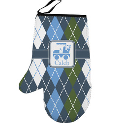 Blue Argyle Left Oven Mitt (Personalized)