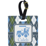 Blue Argyle Luggage Tags (Personalized)