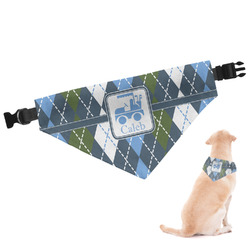 Blue Argyle Dog Bandana - Large (Personalized)
