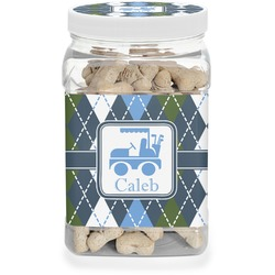Blue Argyle Pet Treat Jar (Personalized)