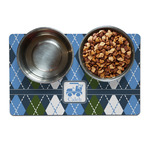 Blue Argyle Dog Food Mat (Personalized)