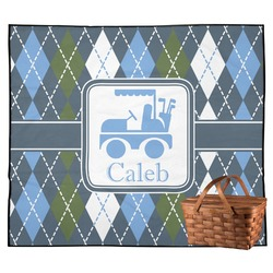 Blue Argyle Outdoor Picnic Blanket (Personalized)