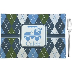 Blue Argyle Rectangular Glass Appetizer / Dessert Plate - Single or Set (Personalized)