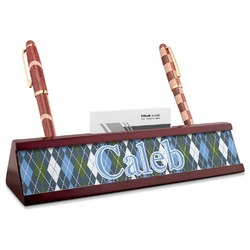 Blue Argyle Red Mahogany Nameplate with Business Card Holder (Personalized)