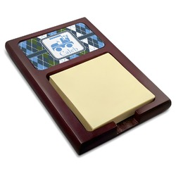 Blue Argyle Red Mahogany Sticky Note Holder (Personalized)
