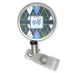 Blue Argyle Retractable Badge Reel (Personalized)