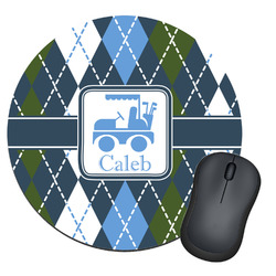 Blue Argyle Round Mouse Pad (Personalized)
