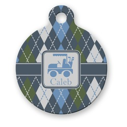 Blue Argyle Round Pet Tag (Personalized)