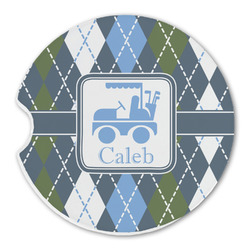 Blue Argyle Sandstone Car Coaster - Single (Personalized)