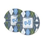 Blue Argyle Sandstone Car Coasters (Personalized)
