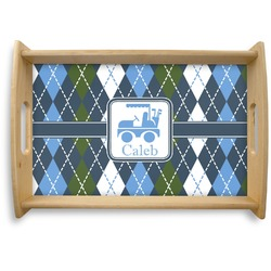 Blue Argyle Natural Wooden Tray - Small (Personalized)