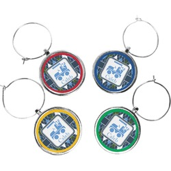 Blue Argyle Wine Charms (Set of 4) (Personalized)