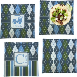 Blue Argyle Set of 4 - Square Dinner Plates (Personalized)