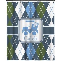 "Blue Argyle Extra Long Shower Curtain - 70""x84"" (Personalized)"