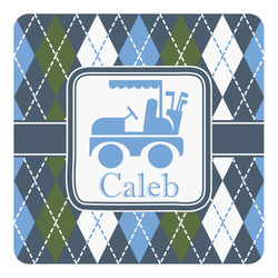 Blue Argyle Square Decal - Custom Size (Personalized)