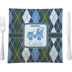 Blue Argyle Square Dinner Plate (Personalized)