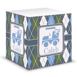 Blue Argyle Sticky Note Cube (Personalized)