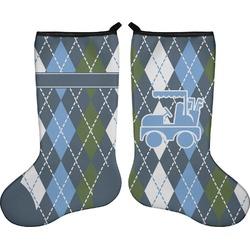 Blue Argyle Holiday Stocking - Double-Sided - Neoprene (Personalized)