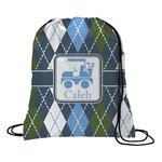 Blue Argyle Drawstring Backpack (Personalized)
