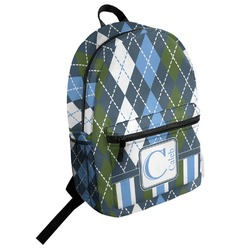 Blue Argyle Student Backpack (Personalized)