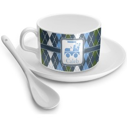 Blue Argyle Tea Cup - Single (Personalized)