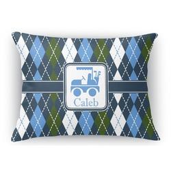 Blue Argyle Rectangular Throw Pillow Case (Personalized)