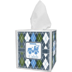 Blue Argyle Tissue Box Cover (Personalized)