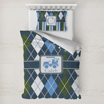 Blue Argyle Toddler Bedding w/ Name or Text
