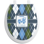 Blue Argyle Toilet Seat Decal (Personalized)