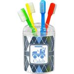 Blue Argyle Toothbrush Holder (Personalized)