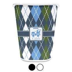 Blue Argyle Waste Basket (Personalized)