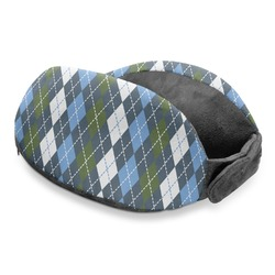 Blue Argyle Travel Neck Pillow (Personalized)
