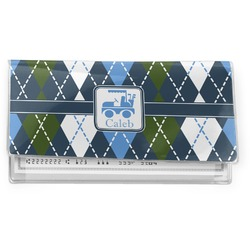 Blue Argyle Vinyl Check Book Cover (Personalized)