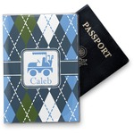 Blue Argyle Vinyl Passport Holder (Personalized)