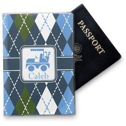 Blue Argyle Vinyl Passport Holder (Personalized)